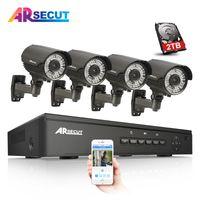sistema de vigilancia h.264 al por mayor-4CH NVR CCTV System 2TB HDD Onvif 1080P HD H.264 Varifocal 2.8mm-12mm Seguridad Cámara IP de vigilancia POE CCTV Kit Alerta de correo electrónico