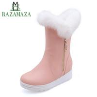 bot içeride kürk toptan satış-RAZAMAZA Kadınlar Sıcak Yarım Kısa Çizmeler Kış bayan Ayakkabıları Peluş Kürk İç Topuklar Çizmeler Moda Metal Fermuar Ayakkab ...