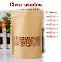 Wholesale Plastic Snack Bag - 100pcs Zip-lock Stand up Front Clear Window Kraft Paper Bags  Recloseable Kraft Moistureproof Packaging Storage Nut,Snacks,Tea Pouches