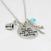 colares de citações venda por atacado-Venda Por Atacado 12pcs / lot pequena sereia inspirado colar. Eu tenho gadgets e gizmos colares pingente, para mulheres Presente da jóia