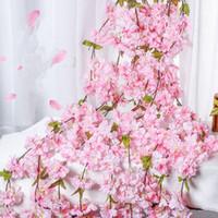 hera de enforcamento artificial venda por atacado-Arco do casamento Sakura Cereja Rattan Decoração Vine flores artificiais partido Home Decor Silk Ivy Wall Hanging Garland grinalda