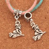 Wholesale witch bracelets - 100pcs lot Witch On Broom Big Hole Beads Antique Silver Dangle Fit European Bracelets B118 28.3x14.3mm
