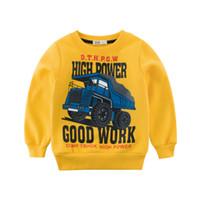 sudadera con capucha amarilla 3t al por mayor-manga larga camiseta niños niños sudaderas con capucha niños ropa bebé camión Sudaderas amarillo azul de calidad superior