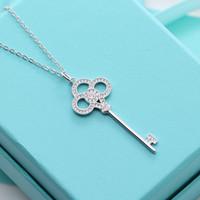 навсегда любовь бриллиантов оптовых-Стерлингового серебра ключи эмаль ожерелье женщины роскошь навсегда любовь цепи мода Марка свадьба Алмаз полые ожерелья