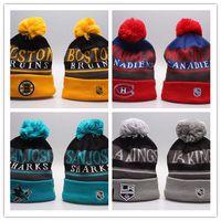 Wholesale bonnet cap for men black for sale - Group buy Winter Beanie Hats for Men Knitted NHL Wool Hat Gorro Bonnet with San Jose Sharks Beanie Boston Bruins Pittsburgh Penguins Winter Warm Cap