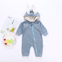 Wholesale girls sleep rompers resale online - Quenya Cute Rabbit Ear Hooded Baby Rompers For Babies Boys Girls Kids Clothes Newborn Clothing Jumpsuit Infant Costume Baby sleeping Outfit