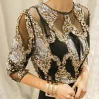 abalorios para encaje al por mayor-Mujeres de lujo de cristal Lentejuelas bordado Blusa de encaje Granos geométricos Camisas blusas sexy camisa 2018 Clubes de Fiesta Hollow Tops