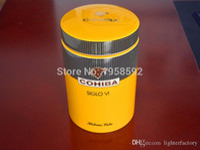 artilugios de ceramica al por mayor-COHIBA Gadget Classic Yellow Cylindrical SIGLO VI Sheeny Porcelana Tubo de Cigarro de Cerámica Hermetic Jar MINI Humidor W / Gfit Box