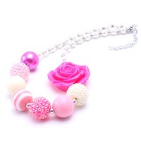 Wholesale Chunky Necklaces For Babies - Lovely Pink color chunky beads necklace Best gifts to baby girl chunky bubblegum necklace jewelry for child kids