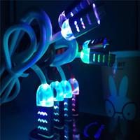 flash-usb-kabel geführt großhandel-1m 3ft sichtbares LED-Mikro-USB V9 i5, i7, i6-Ladegerät-Kabel für blinkende Wasserwellen-Kabel Samsung-S7 1m 3ft Datenkabel