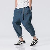 pantalones vaqueros cruzados al por mayor-2018 Primavera Estilo japonés Baggy Homme Classic Jeans de los hombres Marca Negro Casual Fahion Cross-pants Biker Pantalones de mezclilla Talla 5XL