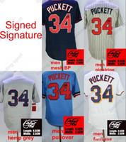 Discount miller sign - Signed Signature men Kirby Puckett baseball Jerseys Cooperstown Minnesota Jersey Grey Pinstripe mesh BP coolbase Flexbase