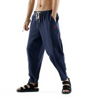 kung fu calça algodão venda por atacado-P Chinês Tradicional Kung Fu Calça de Algodão Solta de Linho Comprimento Total Calças Casual Em Linha Reta Meio Da Cintura Com Cordão Calças Tamanho M-4XL