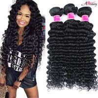 Wholesale new bundles - New Arrivel Brazilian Deep Wave Virgin Human Hair Bundles Unprocessed Brazilian Peruvian Indian Deep Wave Curly Virgin Hair Extensions