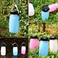 Wholesale indoor bbq for sale - Group buy Portable Folding Silicone Sports Water Bottle Cup USB Solar Rechargeable Waterproof LED Camping Lamp for Outdoor Sports Riding BBQ Party