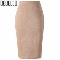 Wholesale Womens Suede Skirts - Wholesale-2017 Winter Office Sexy Ladies Suede Pencil Skirts High Waist Midi Womens Bodycon Sexy Pink Gray Big Size XXL Jupe Femme S0807