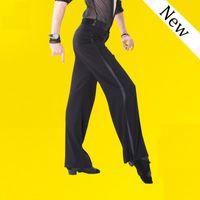 fitas de dança negra venda por atacado-Black Satin Ribbon Em Calças Laterais dos homens Latino Mens moderno Salão de Dança de Salão Calças de Dança Latina Calças dos homens Dos Homens N1000