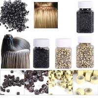 mikro boncuk tüyü saç uzantıları toptan satış-1000 adet / şişe silikon kaplı Mikro Linkler Yüzükler Boncuk Saç Tüy Uzantıları 7 Renk Isteğe Bağlı mikro halka silikon halka