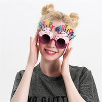 Wholesale Birthday Party Sunglasses - Cute Happy Birthday Sunglasses Creative Cream Cake Funny Glasses Wedding Carnival Party Decoration New Arrive 12sf C