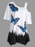 mariposa de las mujeres tshirt al por mayor-Camiseta con estampado de mariposa de talla grande para mujer Camiseta de algodón con estampado de animales de verano Camiseta corta con mangas cortas para mujer Envío gratis