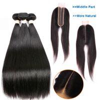 siyah uzun örgüler toptan satış-Brezilyalı Düz Saç Örgü Demetleri Ile Kapatma 2 * 6 Ile dantel Kapatma İnsan Saç Demetleri Orta Kısmı 9A Uzun Remy Saç Doğal Siyah
