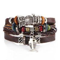 Wholesale fish beads - Retro wood Beads owl fish pendant Bracelet Multilayer pu Leather Bracelets & Bangles antique Simple Jewelry For Men Women 162535