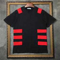 remiendo camisetas impresas al por mayor-2018 camiseta para hombre de manga corta Camiseta con cuello en O Hombres Ropa de marca patchwork Impresión de rayas Camiseta de diseñador Camisetas de algodón