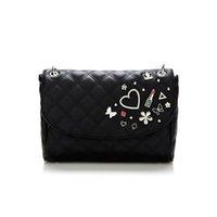 115c8a8216e borsa a tracolla di marca delle donne di modo Borsa PU piccole borse a  tracolla NWT amore design diamante nero BAG204
