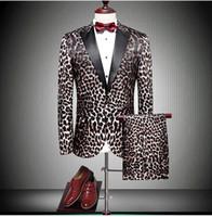 leopard print homens blazers venda por atacado-Marca New Leopard Print Noivo Smoking Pico Lapela Um Botão Dos Homens Do Casamento Terno de Alta Qualidade Homens de Negócios Prom Blazer Jantar (Jacket + Pants + Tie)