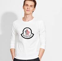 hoodie fino de manga comprida para homens venda por atacado-Queda fina o pescoço camiseta para homens de moda de manga longa dos homens hoodies designer de carta de luxo carta de impressão camisolas