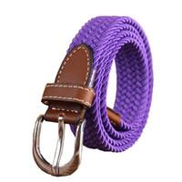 tejanos para mujeres al por mayor-Cinturón de punto casual Mujeres Tejido Lienzo Elastic Stretch Belt Pin Hebilla Hembra Táctica militar Jeans Cinturones Púrpura