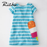 Wholesale Children Costumes - Richu striped blue dress for girls short sleeve for summer beautiful children dresses christmas costumes for kids animals spring