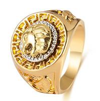 Wholesale vintage hip hop jewelry - Gold color Zinc Alloy Men Ring lion pattern Hip Hop Rings for Women Vintage Punk Fashion Jewelry 2018 New Arrival Hot Sale