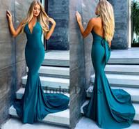 resmi spandex elbiseleri toptan satış-Seksi Mermaid Abiye 2018 Derin V Yaka Halter Spandex Backless Abiye Giyim Formal Abiyeler Sweep Tren