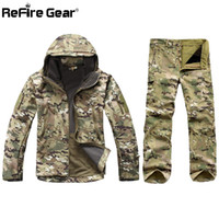 Wholesale army military suit resale online - Tactical Soft Shell Camouflage Designer Jacket Set Men Army Waterproof Warm Camo Clothes Military Fleece Coat Windbreaker Clothing Suit