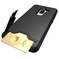 Wholesale pc case texture for sale - Case For Samsung Galaxy S8 S9 S9 Plus PC TPU Anti Shock Impact Brushed Texture Stand Card Slot Cover For Samsung S7 Edge