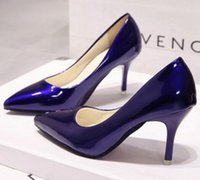 Wholesale Grey Dress Work Office - Free shipping free shipping nude color pointed high heels fine with black work shoes women red wedding shoes patent blue large size shoes