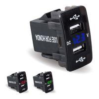 random radio بالجملة-الترويجية المزدوجة USB شاحن سيارة ميني مع فولت الصمام 12V-24V شاشة LED تجديدها 2 منفذ USB شاحن سيارة سريع لهوندا فقط