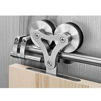 Interior Barn Doors Stainless Steel Top Mount Dual Wheel Rolling Sliding Door Hardware Kit for Wood Doors
