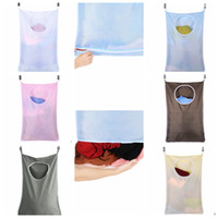 Wholesale dirty laundry clothing online - Household Door Hanging Laundry Hamper Wall Mounted Laundry Organizer Bag Laundry Hamper Dirty Clothes Storage bag KKA3876