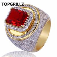 ring lovers man venda por atacado-TOPGRILLZ Hip-Hop Clássico Banhado A Ouro Cubic Zircon Big Red Stone Ring Personalidade Moda Homens Mulheres Jóias Amante Presente