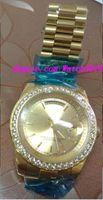 18 herren-diamant-uhr großhandel-Luxus-Armbanduhr 18 Karat Gelbgold Mens Large Diamond Solid Diamond Watch 41 mm Automatische Herrenuhr Herrenuhren