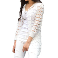 Wholesale long beach sweater - Summer Hollow Out Beach Cool Cardigans Spring Women Long Sweater Knitted Rebecas Mujer New Crochet Femme Casual Ladies Tops