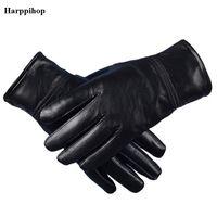 настоящие овчинные перчатки оптовых-Harppihop Men's Genuine Leather Gloves Real Sheepskin Black no Touch Screen Gloves Fashion  Winter Warm Mittens New G1005