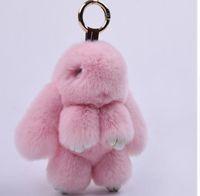 автомобильный кулон оптовых-Fur bunny keychain Pendant Rex Rabbit's Hair Bag Automobile Key holder ring chain Jewelry Exceed Adorable Rabbit toy keychain