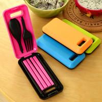 Wholesale plastic folding spoon fork resale online - Portable Folding Travel Dinnerware Set Korean Tableware Cutlery Fork Chopsticks Set For Kids Bento Lunch Box Accessories