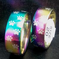 pegadas anéis venda por atacado-50 pcs Rainbow Dog Cat Paw impressão anéis 8 mm aço inoxidável 316L pegada anéis para homens e mulheres Animal de estimação jóias amante presente atacado