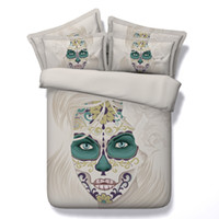 Wholesale queen skull bedding for sale - Group buy 3D painted skull Duvet Cover floral Bedding Sets Human skeleton Bedspreads Holiday Quilt Covers Bed Linen Pillow Covers comforter cover