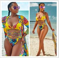 ac11f1b835 Women 3pcs Floral Print Bandage Swimwear Swimsuit Bikini with Cover Up Dress  Yellow Floral Swim Bathing Suit Beach Wear EEA291