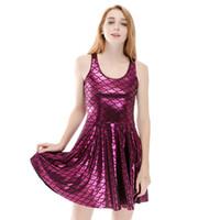 rosa xl gefaltete kleid großhandel-Mädchen wogenden Kleid Meerjungfrau  Fischschuppen tiefrosa 3D Print Mädchen dehnbar da84ef3d00